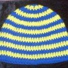Hand Crochet - Mens Skull Cap Beanie Hat Skater Emo Goth - Yellow Blue Stripe