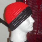 Hand Crochet Men's Beanie Hat Zac Brown Band - 8 inch - Red Black