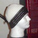 Hand Crochet Men's Beanie Hat Zac Brown Band - 8 inch - White Black