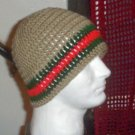 Hand Crochet ~ Men's Skull Cap Beanie Hat Taupe