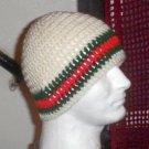 Hand Crochet ~ Men's Skull Cap Beanie Hat Ivory