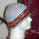Hand Crochet ~ Men's Skull Cap Beanie Hat Light Gray