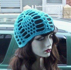 Hand Crochet Turquoise Pineapple Juliet Cap Matches Bikinis Made to Order Beach