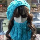 Hand Knit Turquoise Cabled Hat and Cowl Set - Made 2 Order