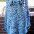 Hand Crochet  Poncho - Plus One Size Boho Chic - Ocean