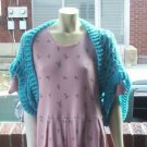 Hand Crochet Turquoise Shrug One Size Fits Most