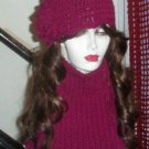 Hand Knit  Flowerd Hat and Cowl Boisenberry Burgandy