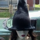Hand Knit Black Witches Hat
