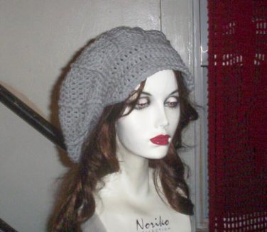 Hand Crochet Summer Super Slouchy Brimmed Hat -Light Gray