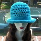 Hand Crochet - Ladies Rolled Brim Beach Hat - Turquoise