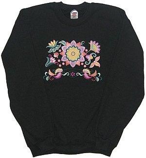 Embroidered Floral Sweatshirt - Sz Med