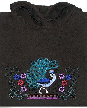 Embroidered Crystal Peacock Sweatshirt -Sz XL