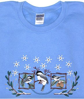 Embroidered Chickadees Sweatshirt - Sz Lrg