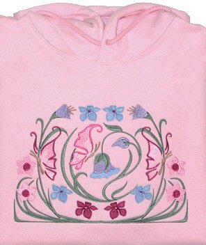 Embroidered Floral butterfly Sweatshirt -Sz Sm