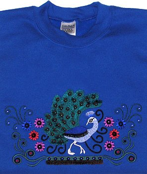 Embroidered Crystal Peacock Sweatshirt -Sz Med