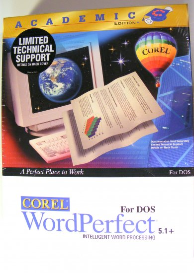 HTF Vintage Academic Corel WordPerfect 5.1 Plus for DOS Sealed Shrink Wrapped NEW Floppy