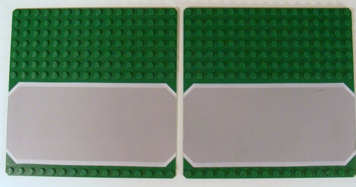 2 Each Green Baseplate 16 x 16 Driveway with Gray Drive White Stripes Pattern 30225p02 B38