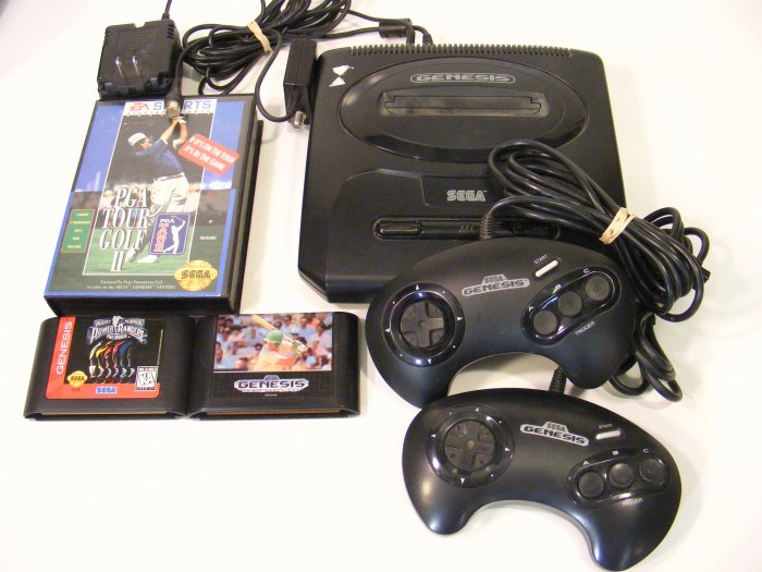 MINI Sega Genesis Video Game Console with 3 Games, 2 Controllers Power Rangers Golf Baseball BBBF10