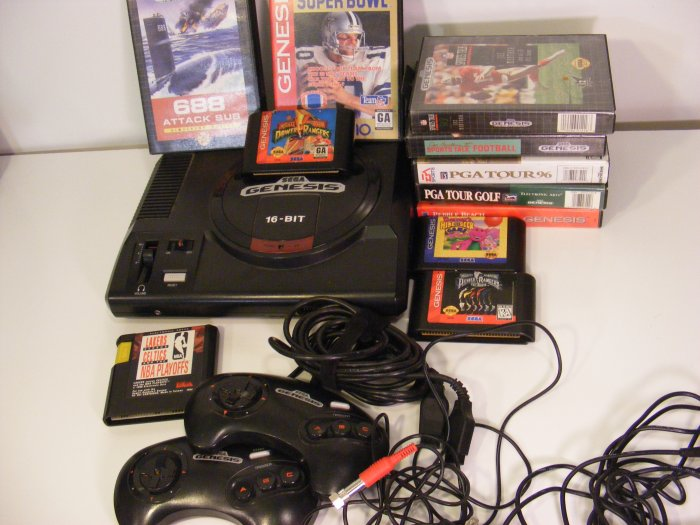 Original Sega Genesis Video Game Console with 11 Games, 2 Controllers Power Rangers 688 Sub 10