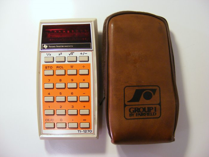 Texas Instruments TI-1270  Vintage Calculator with Case