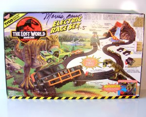 RARE Tyco Jurassic Park Electric Race Set The Lost World Slot Car w Extra Tracks
