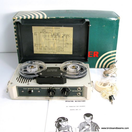 Vintage Arlington MR-503 Tapecorder Reel to Reel Recorder with Microphone Manual Box
