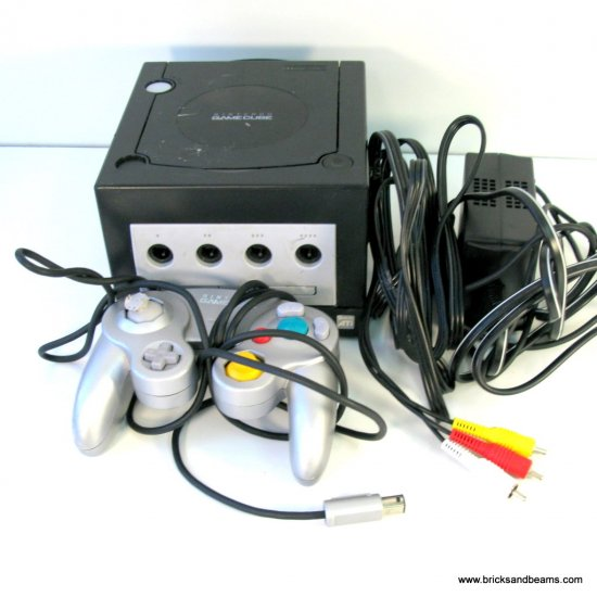 Black Nintendo GameCube Game Console with Controller and Cables