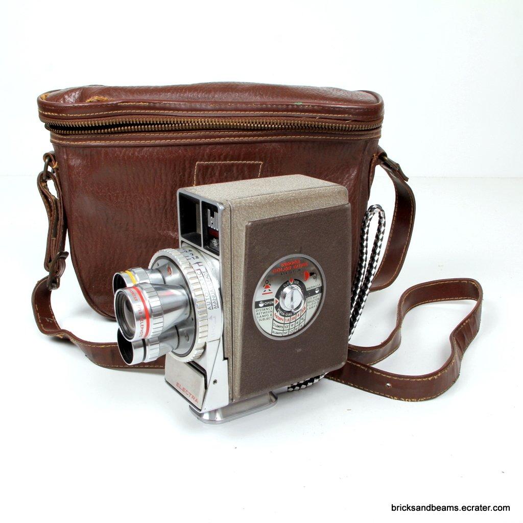 Vintage Antique Electra Dejur Wind up Turret Movie Camera with Case