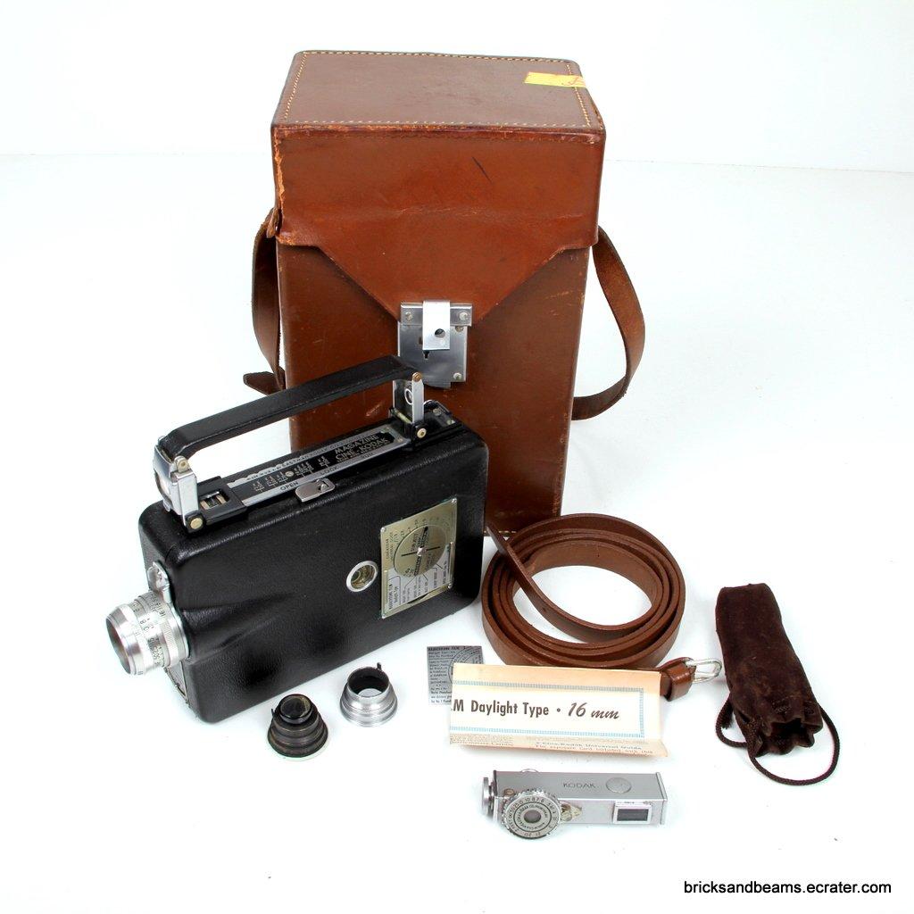 Vintage Antique Magazine Ciné - Kodak Wind Up Movie Camera with Case Rangefinder