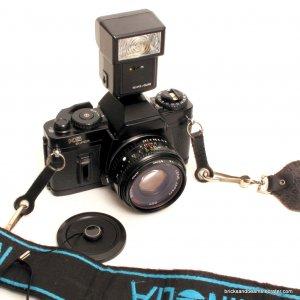 Ricoh Sears KS Super SLR 35mm Camera 50mm Lens, Flash, Strap