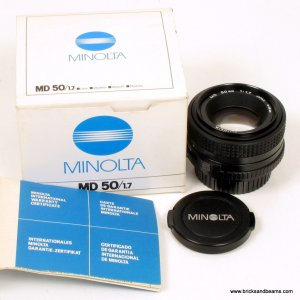 Minolta M Mount 50mm f 1.7 Lens Mint w Original Box and Manual