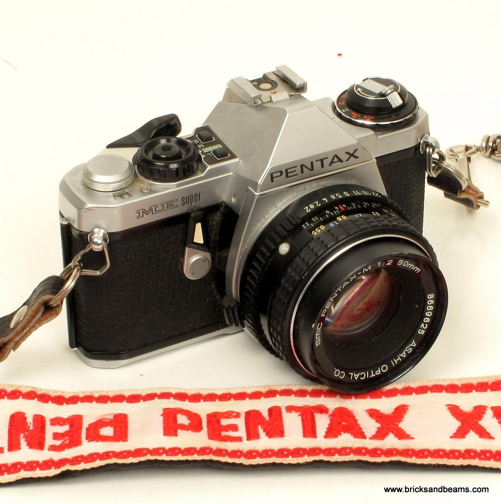 Pentax ME Super SLR Film Camera with SMC 1:2 50mm Lens and Strap