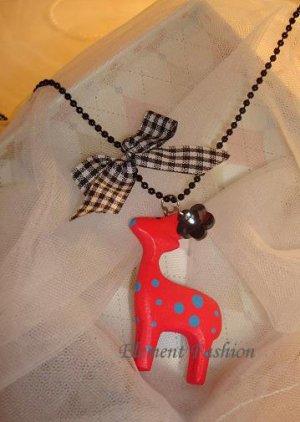 Ribbon deer necklace #AN007