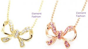 Small bow necklace #AN003 (pink)