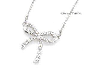 Bow rhinestones necklace #AN004
