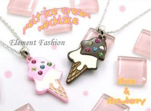 Ice cream bling necklace #AN001 (pink)