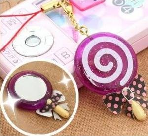 Purple lollipop mirror phone strap