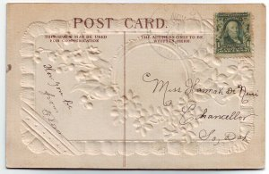 Bard South Dakota Cancel on Postcard DPO 1887-1913 Hanson Co Free Shipping!!