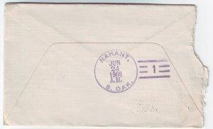 Nahant South Dakota Type 3 #1 Doane Cancel on Cover DPO 1905-1913 Lawrence Co Free Shipping!!