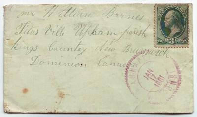 Ahnapee Wisconsin 1881 Violet Fancy Cancel to Canada DPO 1858-1897 Kewaunee County Free Shipping!!