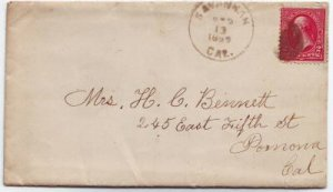 Savannah California 1899 CDS Cancel on Cover DPO 1876-1900 Los Angeles County Free Shipping!!