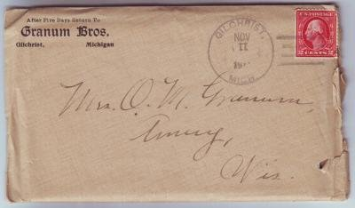 Gilchrist Michigan 4 Bar Cancel on Cover w/Enclosure DPO 1879-1923 Mackinac County Free Shipping!!