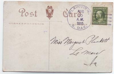 Plainview South Dakota 1910 4 Bar Cancel on Postcard DPO 1908-1972 Meade County Free Shipping!!