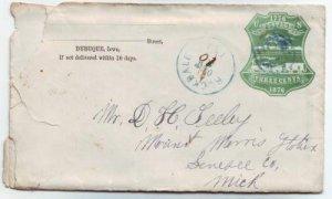 Rockdale Iowa 1877 U221 Cover w/Enclosure of Shooting DPO 1857-1902 Dubuque Co Free Shipping!!