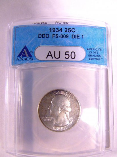 1934 ANACS AU-50 Washington Quarter Doubled Die Obverse FS-009 Die 1 Free Shipping!!