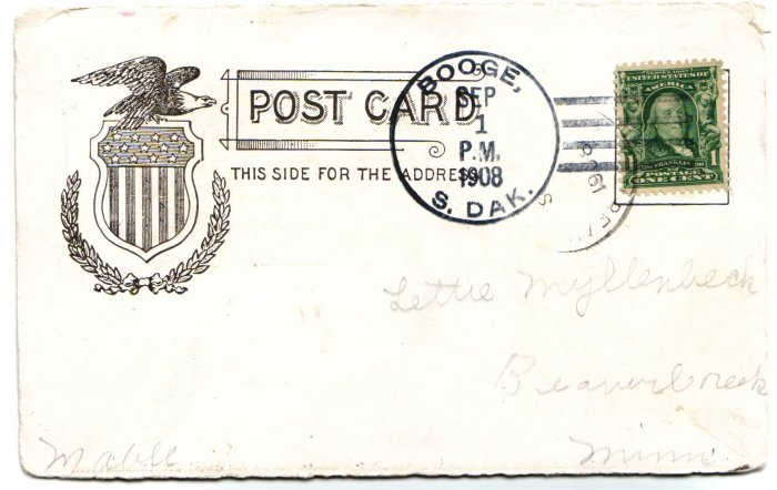 Booge South Dakota 1908 4 Bar Cancel on Postcard DPO 1891-1935 Free Shipping!!