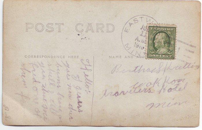 Eastwood Minnesota 1910 Type 2/1 Doane Cancel on Postcard DPO 1898-1917 Free Shipping!!