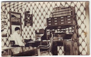 Midland South Dakota 1909 RPPC Real Photo Postcard Law Office Interior Typewriter Free Shipping!!