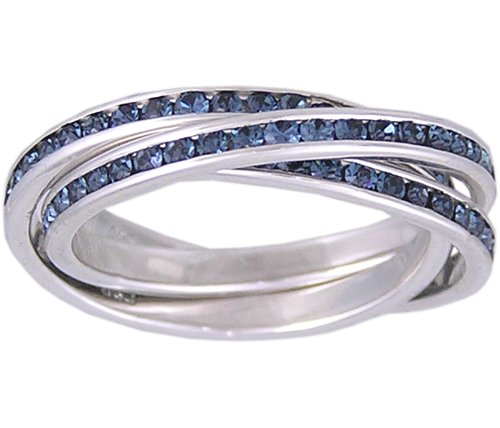 SAPPHIRE CZ SILVER ROLLING RING SIZE 5 7 8 9 or 10
