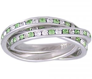 GREEN CZ 925 SILVER ROLLING RING SIZE 5 6 8 or 9